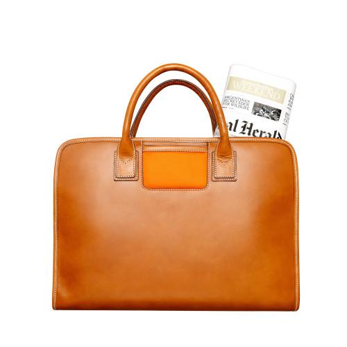 Leather laptop bag Orange